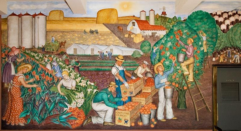 California agriculture mural by maxine albro left half for Coit tower mural