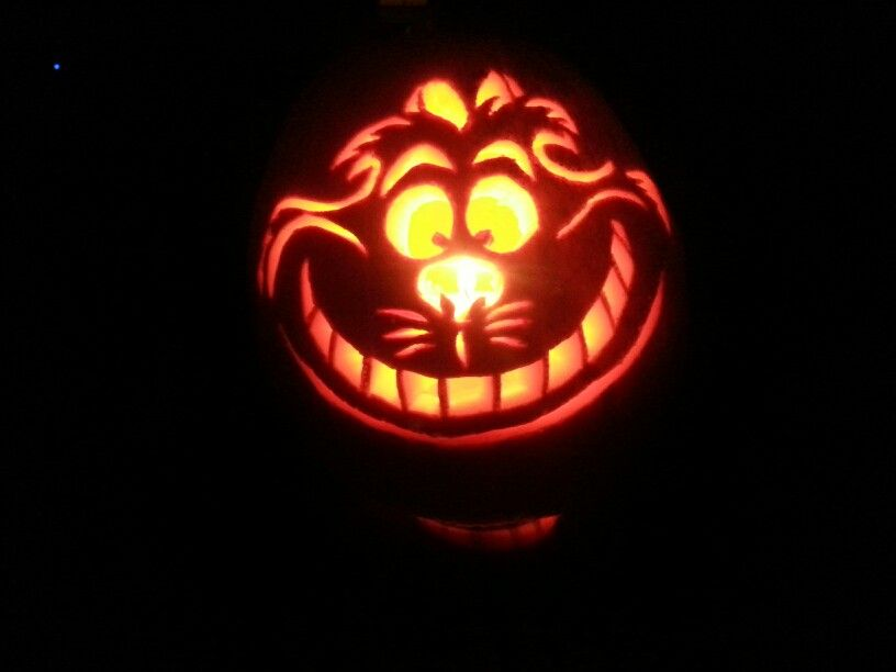 Cheshire cat carved pumpkin fall halloween ideas Cat pumpkin carving patterns