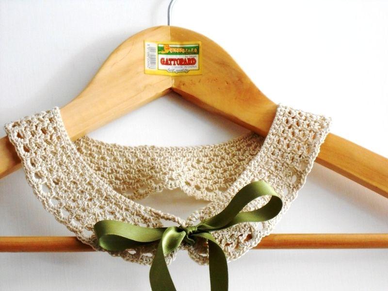 colletto staccabile pizzo a uncinetto, ecrù beige di cose di isa su DaWanda.com
