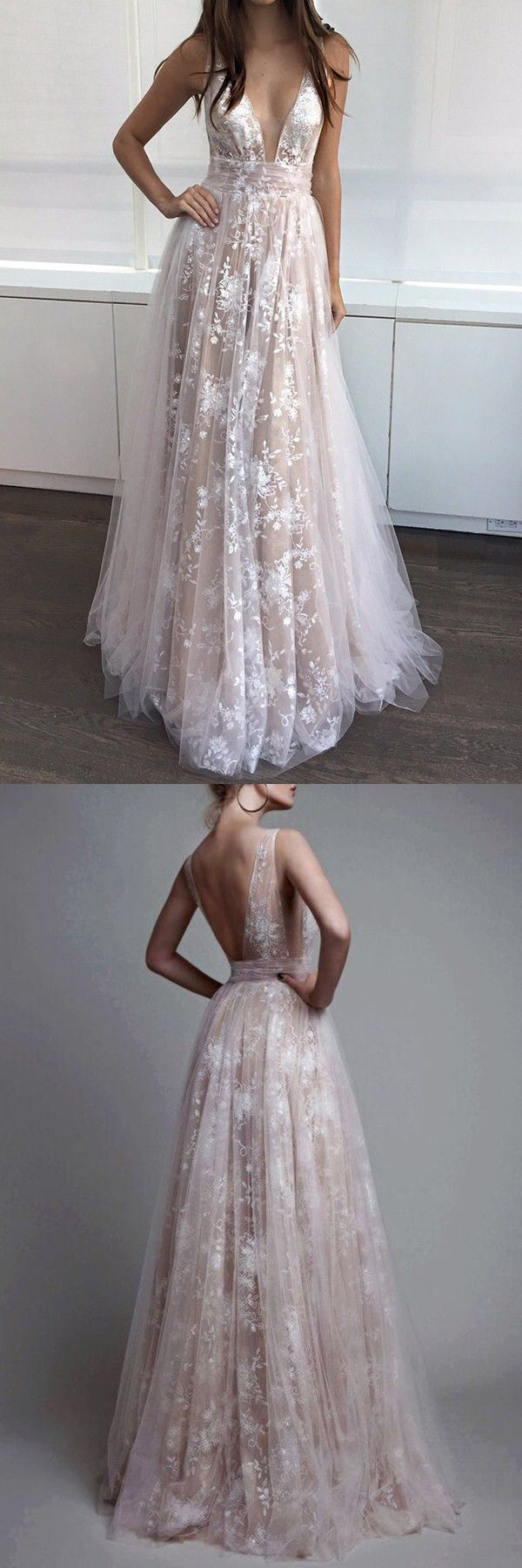 Aline deep vneck champagne tulle backless prom dress with lace
