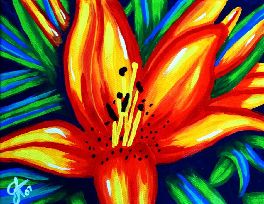 Items Similar To Lily Lilies Sun Flowers Beautiful Romantic Love Passionate Sunburst Gorgeous Red Yellow Floral Print From Original Painting Jackie