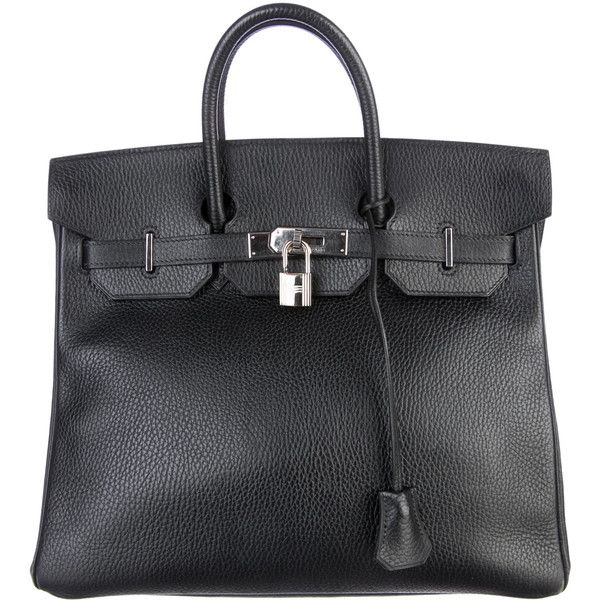 Pre-owned Hermès HAC Birkin 32 (£6,865) ❤ liked on Polyvore featuring bags, handbags, black, square bag, hardware bag, hermes handbags, pocket purse and pre owned bags