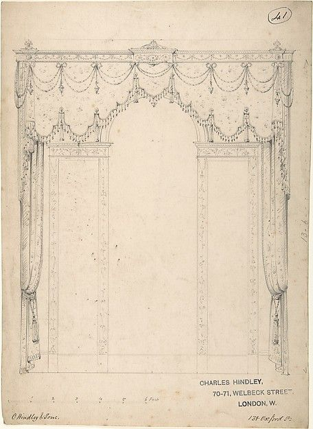 Design for a Wall with Three Windows Charles Hindley and Sons - cortinas para ventanas