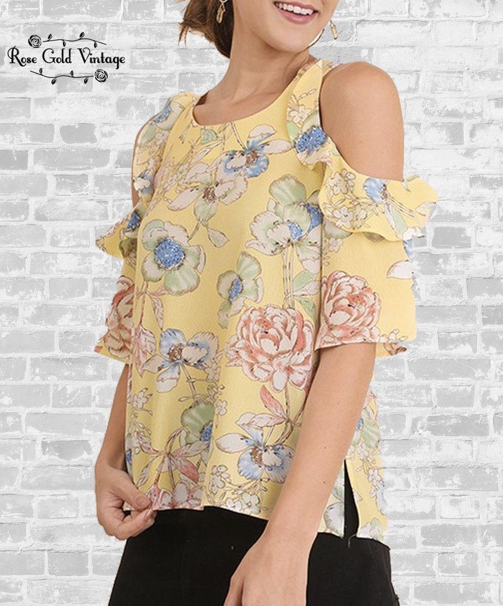 20e24d903f7d8 Cold Shoulder Ruffle Top - Yellow Floral – Rose Gold Vintage