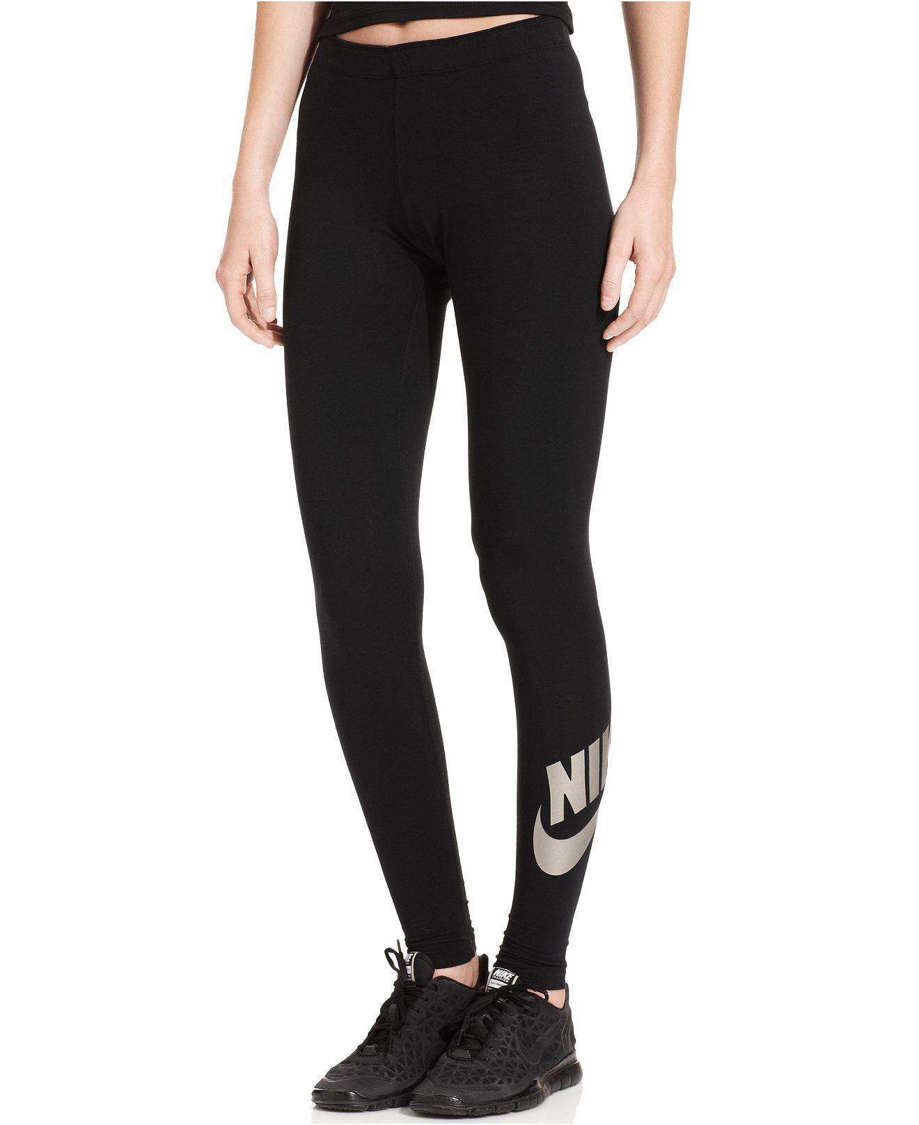 89eeedc79f Nike Leg-A-See Metallic Logo Leggings - Active Pants - Women - Macy s