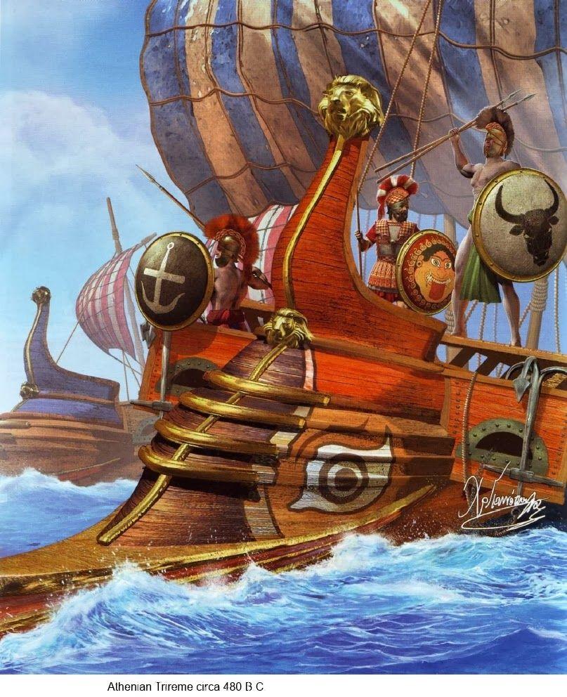 Athenian warship | Ancient War Art | Greco persian wars ...