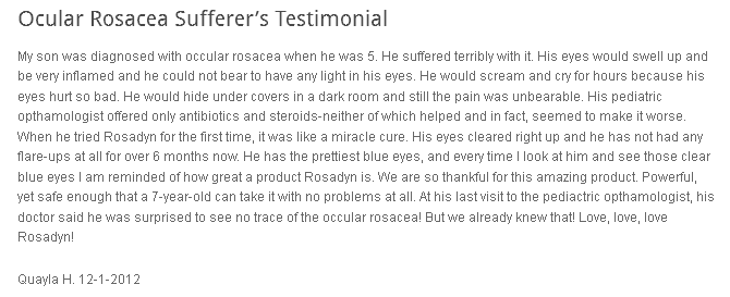 Ocular Rosacea - Quayla's 5 yr old son suffering with ocular rosacea symptoms.. her story how Rosadyn helped.