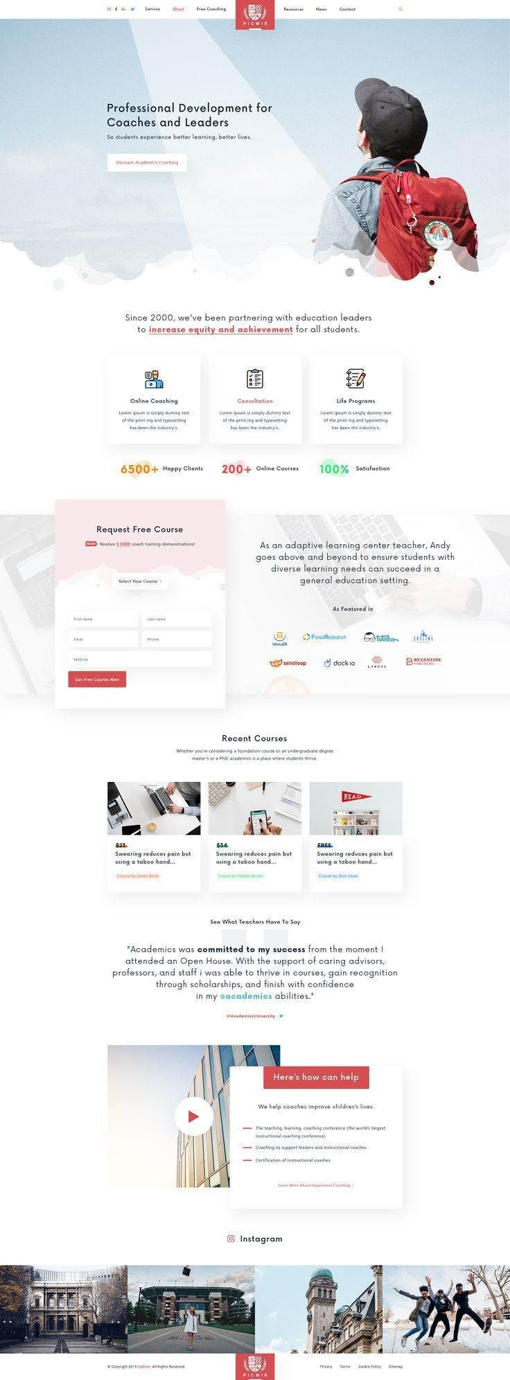 Picwik Education Landing Page For University College And School Is A Premium Psd Template Thi University Website Landing Page Inspiration Online Web Design