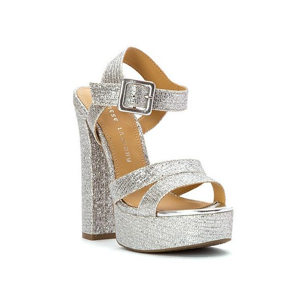 Chinese Laundry Allspice Sandals ($70) ❤ liked on Polyvore featuring shoes, sandals, silver glitter, party sandals, platform sandals, glitter shoes, platform shoes and silver party shoes