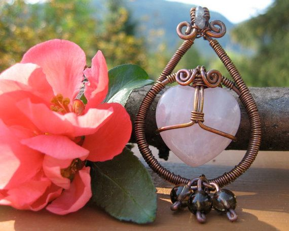 Rose Quartz Heart Drop Necklace by BuddhaNature on Etsy, $50.00