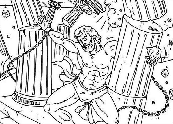 Samsom Pulling The Pillars Apart Coloring Page Color Luna Lion Coloring Pages Coloring Pages Bible Coloring Pages