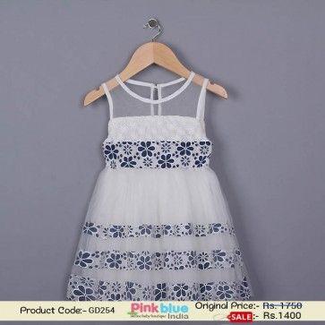 cf8e6dedd New Fashion 2016 Summer Party Dress for Baby Girl - Designer White  Sleeveless Dress for Kids, Princess Partywear Dresses ( 1-5 Years )