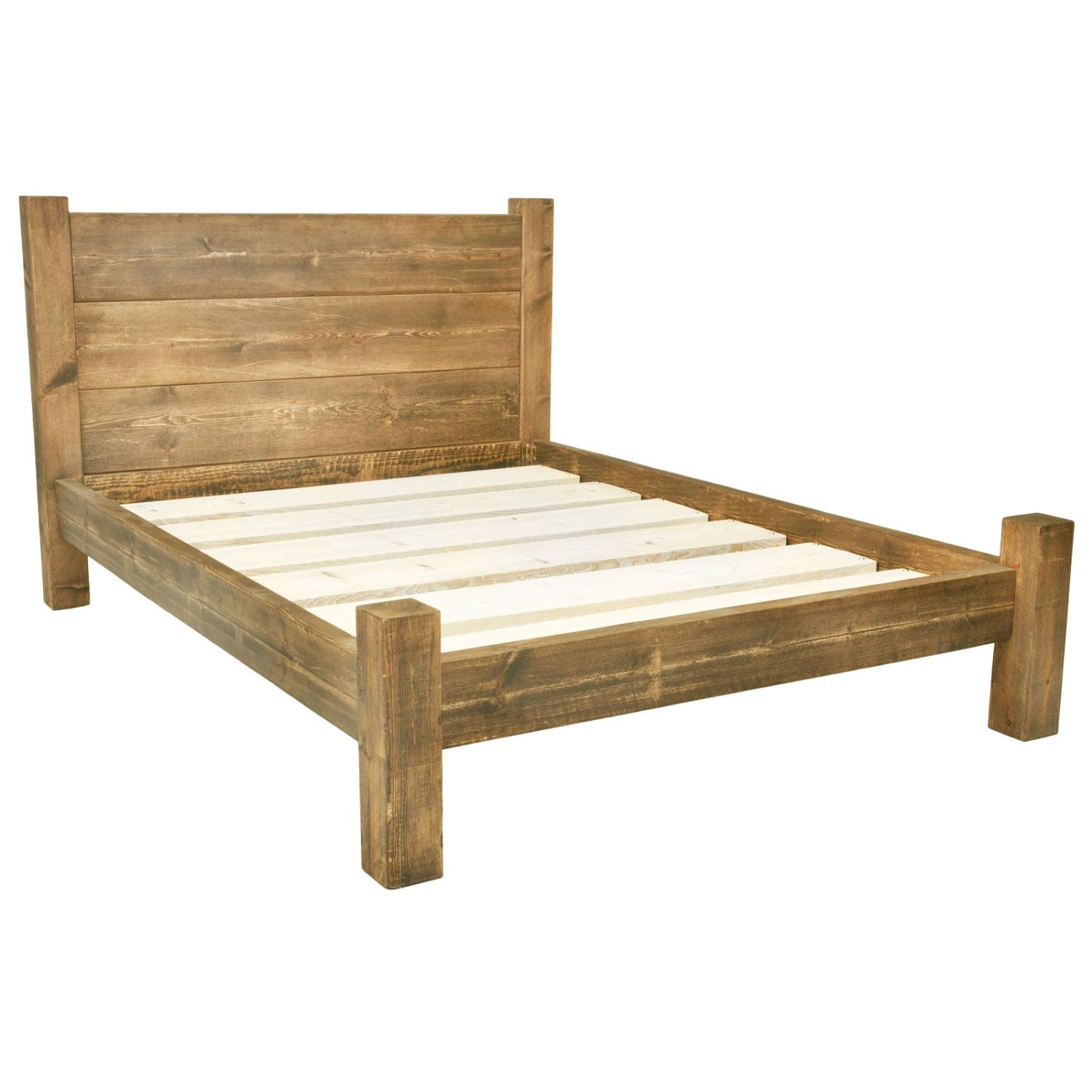 Solid Wooden Chunky Bed Frame In A Choice Of Sizes Single, Double,  Kingsize, Super King And Rustic Wax Finishes With Treble Plank Headboard