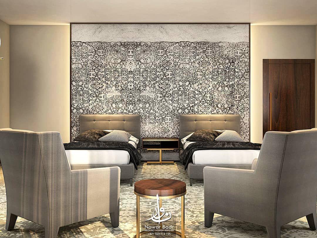 غرفة نوم الضيوف الراحة أولا و بساطة التصميم في فكرة زخرفة نباتية متلاشية في الأرض و الجدار صور الواقع قريبا Interiordesign Interior Decor Bedroom