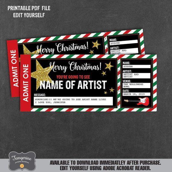 Christmas Concert Ticket Gift Surprise Concert Ticket Printable