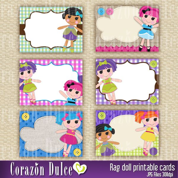 Rag doll printable cards - great for school labels, tags, thank you