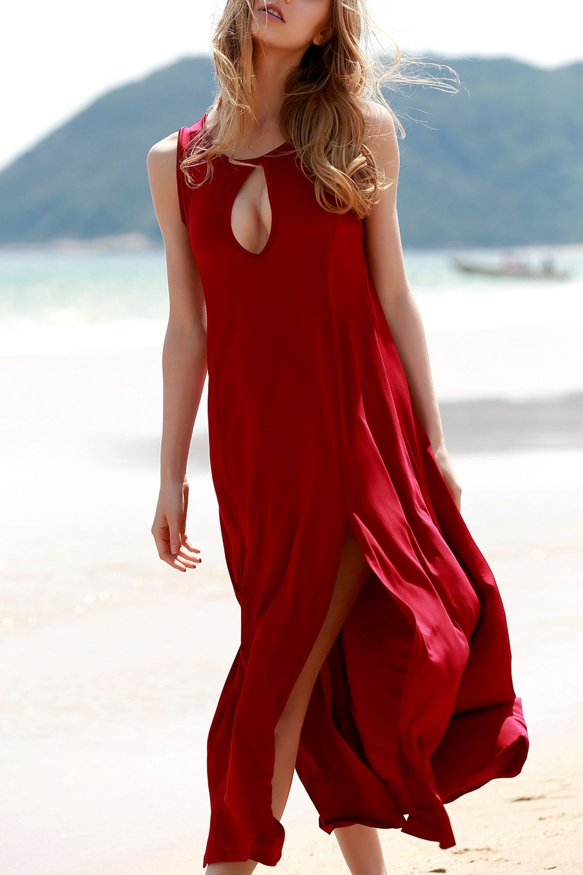 Keyhole design double split dress red maxi dresses red maxi and