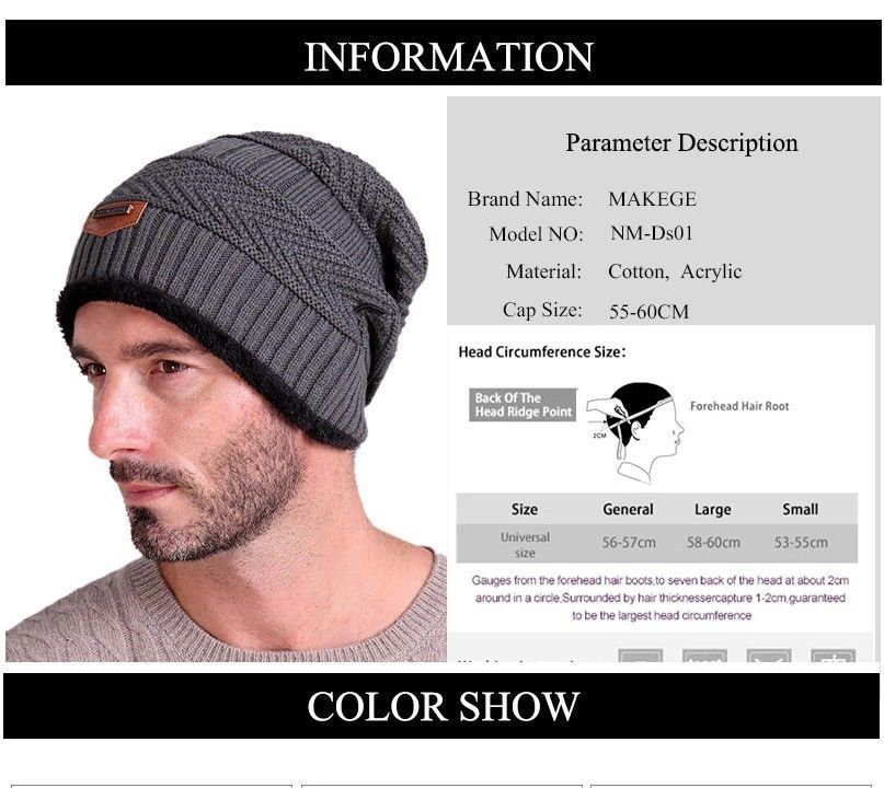 d21d1dcc444e2e Men's winter hat 2018 fashion knitted black hats Fall Hat Thick and Warm # fashion #clothing #shoes #accessories #mensaccessories #hats (ebay link)