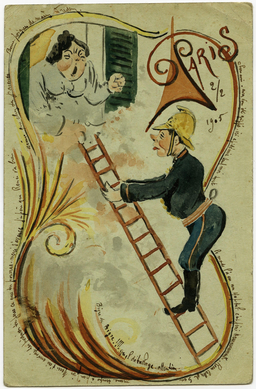 Carte postale décorée du facteur Pioche 1905 © L'Adresse Musée de La Poste / La Poste, DR ...