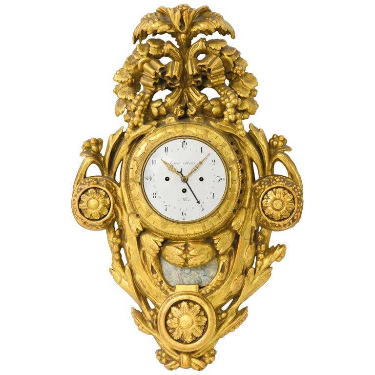 G Muller Wall Clock 18th Century Wien Golden Pendulum Carved Cartel Signed 1700s Austrian Wood Antique Wall Clocks Unusual Clocks Clock