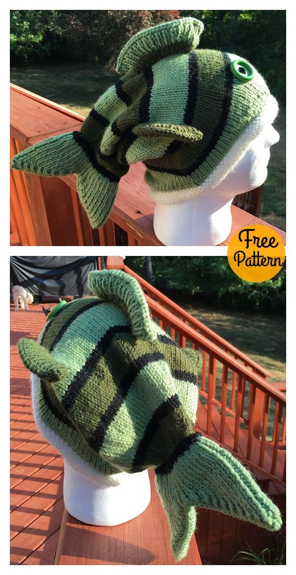 Adult Size Fish Hat Free Knitting Pattern | tejido | Pinterest ...