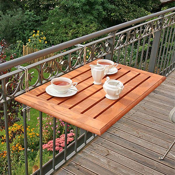 Ahşap Balkon Masası Korkuluğa Geçmeli