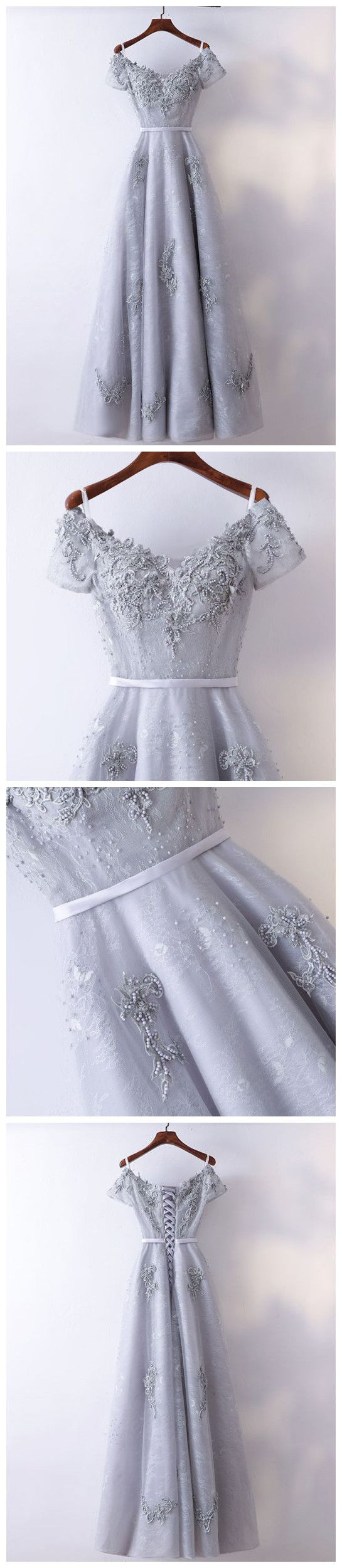 Chic aline offtheshoulder tulle modest silver long prom dress