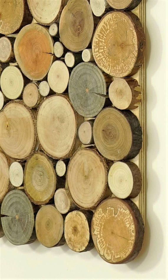wood wall art - a set of twin 2 panles, Tree rounds decor, tree ...