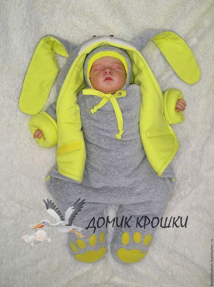 747bae31afa5 Купить или заказать Комбинезон-конверт для новорожденного 'Серенький Зайка  Ярко-желтый' в