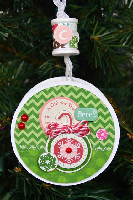 Altered Project: Ribbon Spool Ornament (Echo Park Holly Jolly)