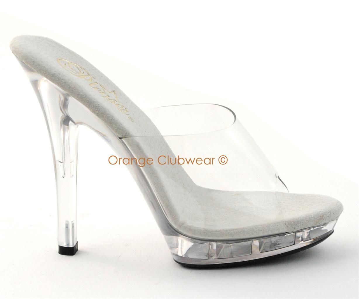 """5/"""" Clear Heels Fitness Pageant Bikini Contest Competition Shoes Lip-101 Pleaser"""