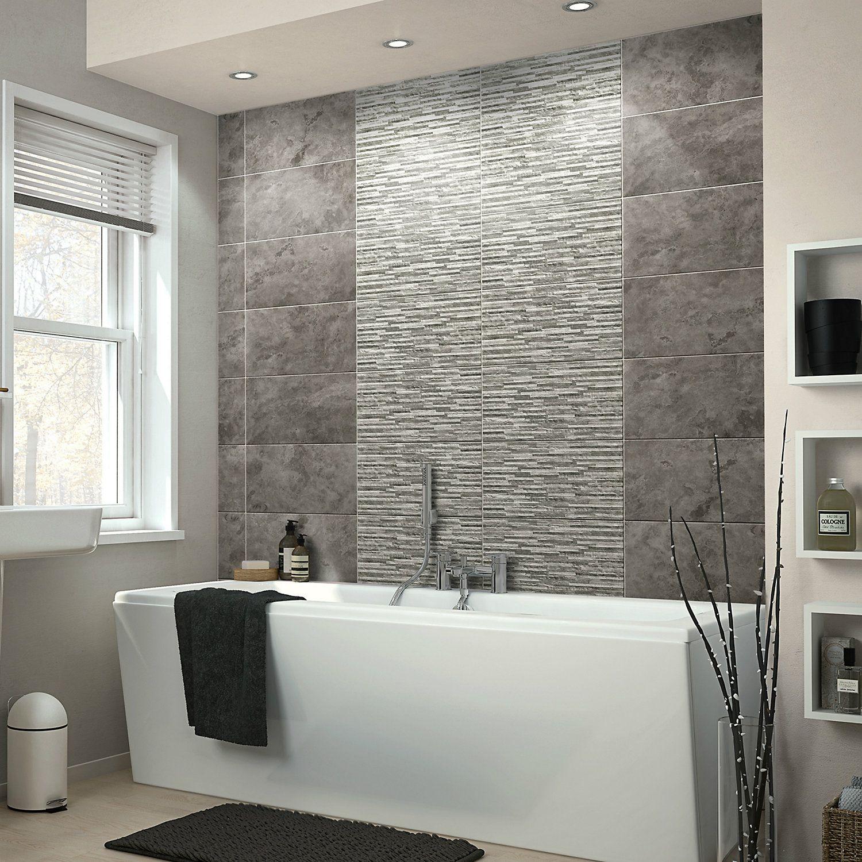 Oscano Pebble Graphite Stone Effect Mini Split Face Ceramic Wall Tile Pack Of 6 L 498mm W 298 Stone Shower Walls Bathroom Wall Tile Bathroom Design Small