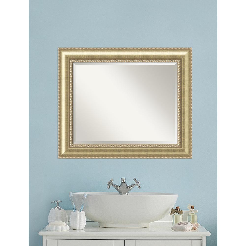 Amanti Art Astoria Champagne Wood 35 In W X 29 In H Traditional Bathroom Vanity Mirror Beige In 2020 Distressed Bathroom Vanity