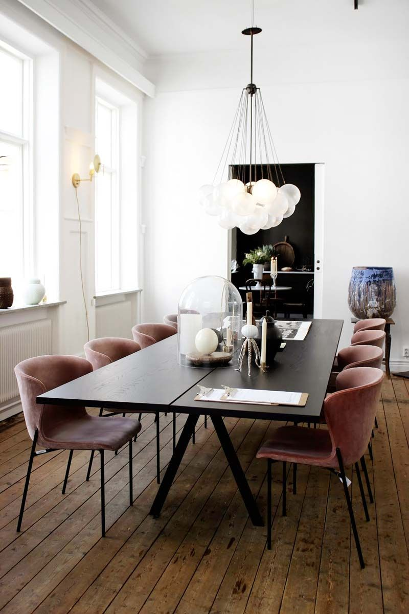 Modern European dining room with bubble chandelier via Thou Swell & Swell Seasonal: Fall Home Decor Edit | Chandeliers Modern and Room