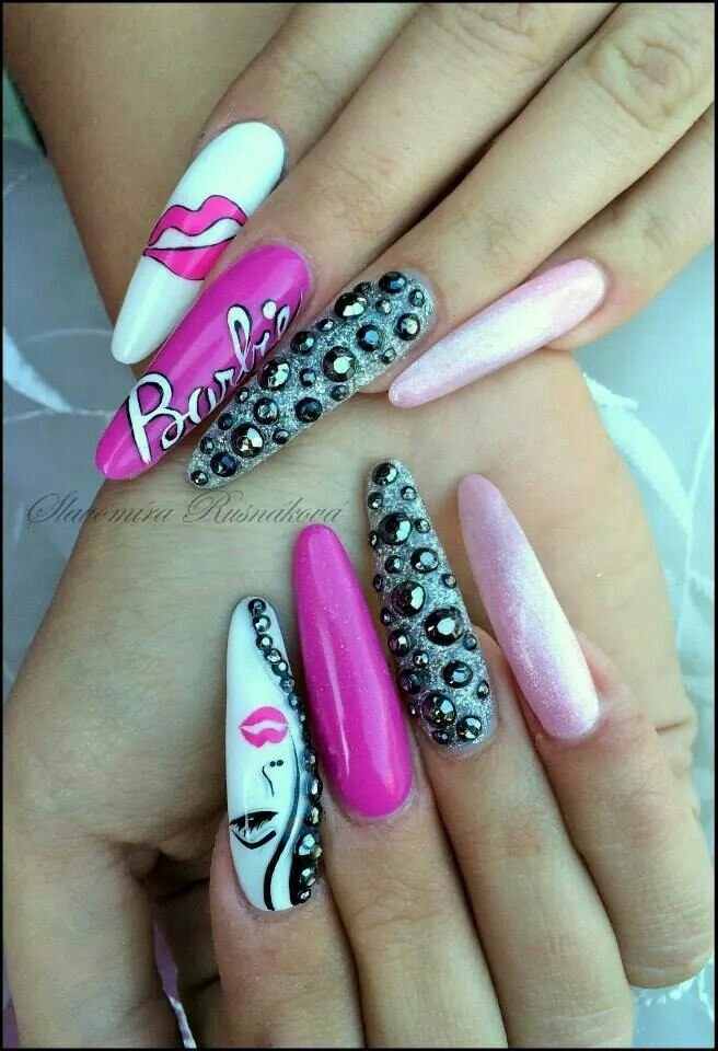 Nails esqueleto nice #barbie | Uñas | Pinterest
