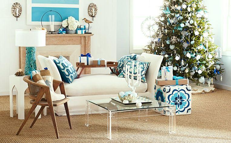 Wisteria's Coastal Christmas Living Room, Tree, and Ornaments.