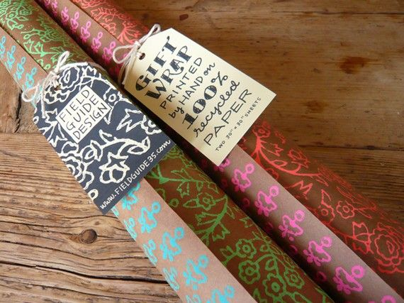 handmade wrapping paper (Hand Printed Gift Wrap - Indian Block Print - Orange and Pink)