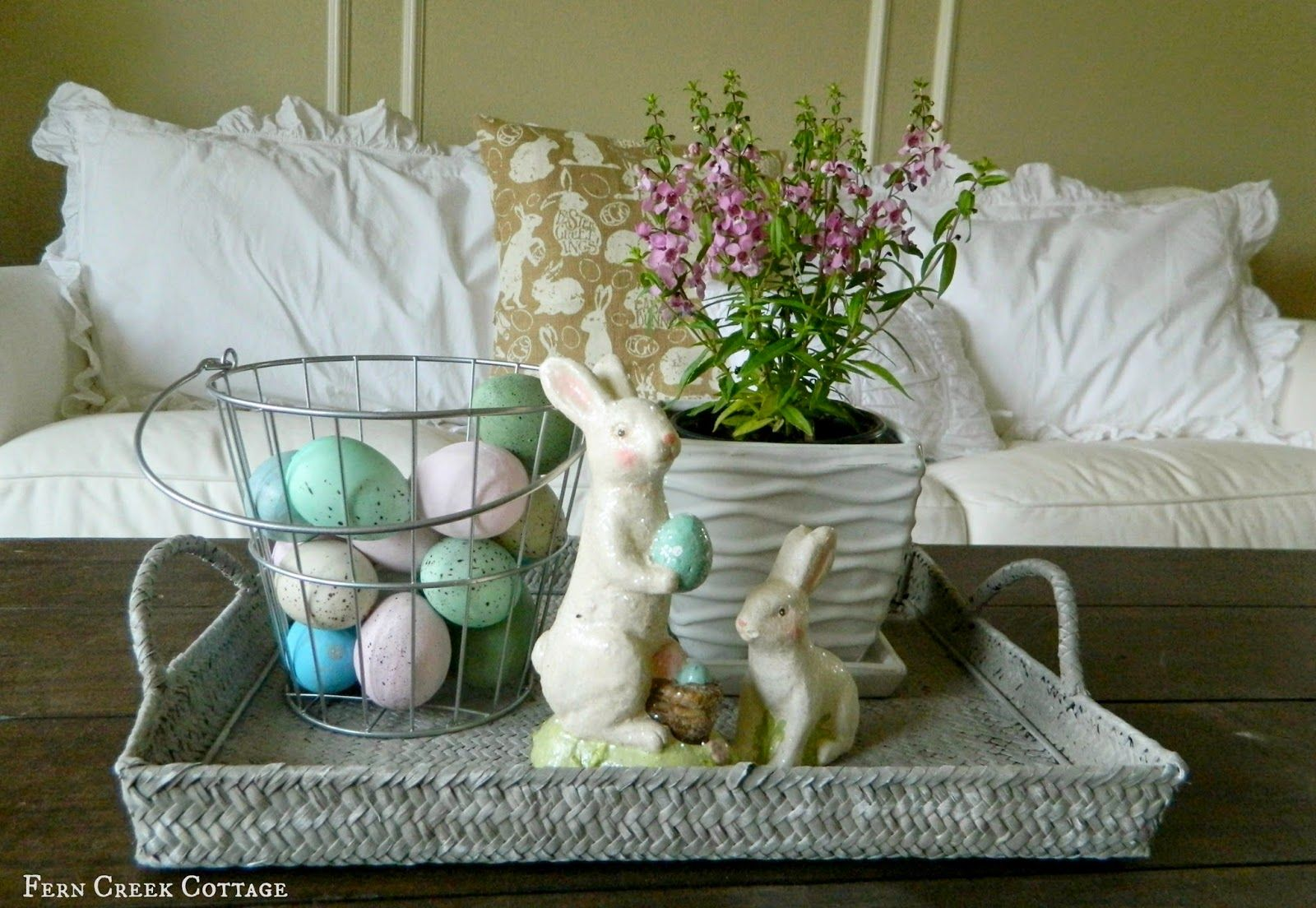 my easter living room  easter decorating coffee tables
