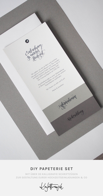 Hochzeitspapeterie Selbst Machen Mit Schoner Kalligrafie Aus Dem Diy Set Hochzeitspapeterie Hochzeitseinladung Einladung Gestalten