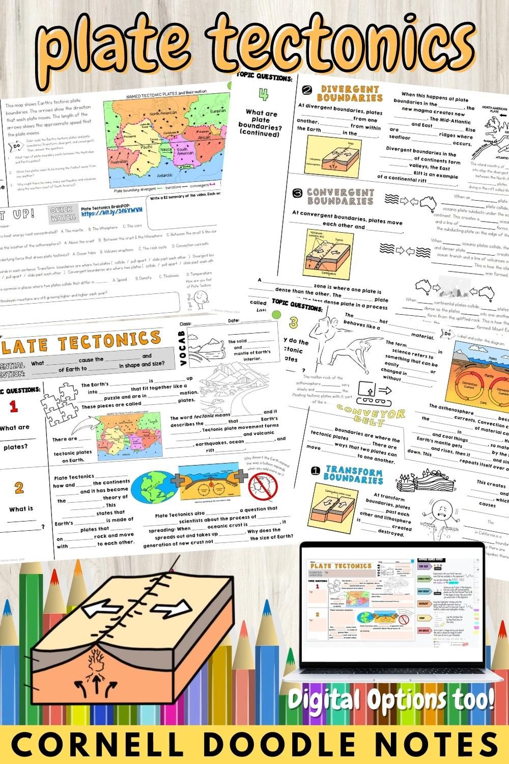 Plate Tectonics Cornell Doodle Notes For Middle School And Homeschool Science Video In 2021 Earth Science Middle School Doodle Notes Plate Tectonics [ 1500 x 1000 Pixel ]