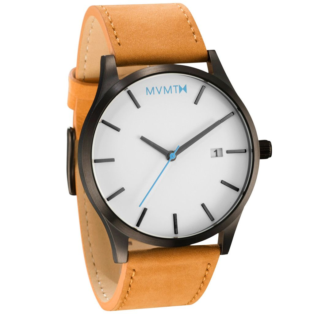 Classic white black tan clothes mvmt watches leather best cheap watches for Black tan watch