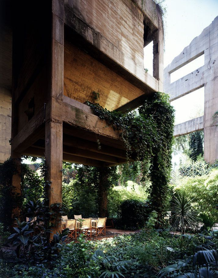 amazing -- a former cement factory converted by Ricardo Bofill into architectural offices /archives /model laboratory /exhibition space /Bofill's-apartment /guest rooms /gardens, Barcelona, Spain