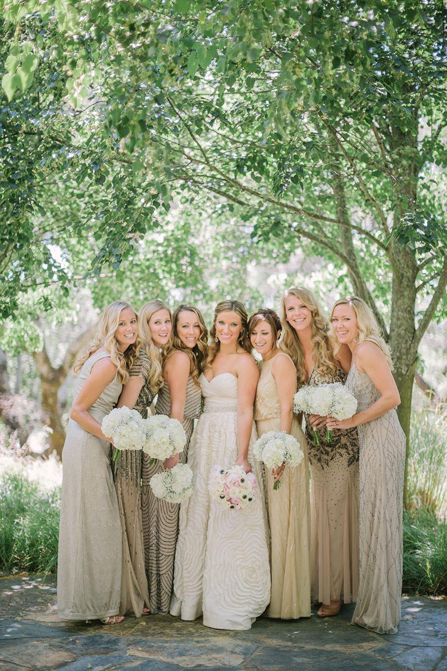 Rustic Chic Chalk Hill Winery Wedding Beige Bridesmaid Dress Champagne Champagne Bridesmaid Dresses Metallic Bridesmaid Dresses