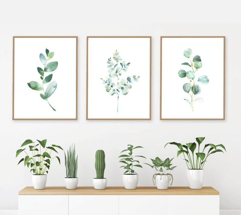 Watercolor Eucalyptus Set Of 3 Prints Botanical Collection Etsy Watercolor Wall Art Entryway Wall Decor Simple Wall Art