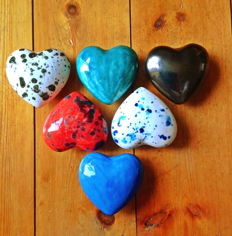 Earth Wool & Fire Ceramic Hearts