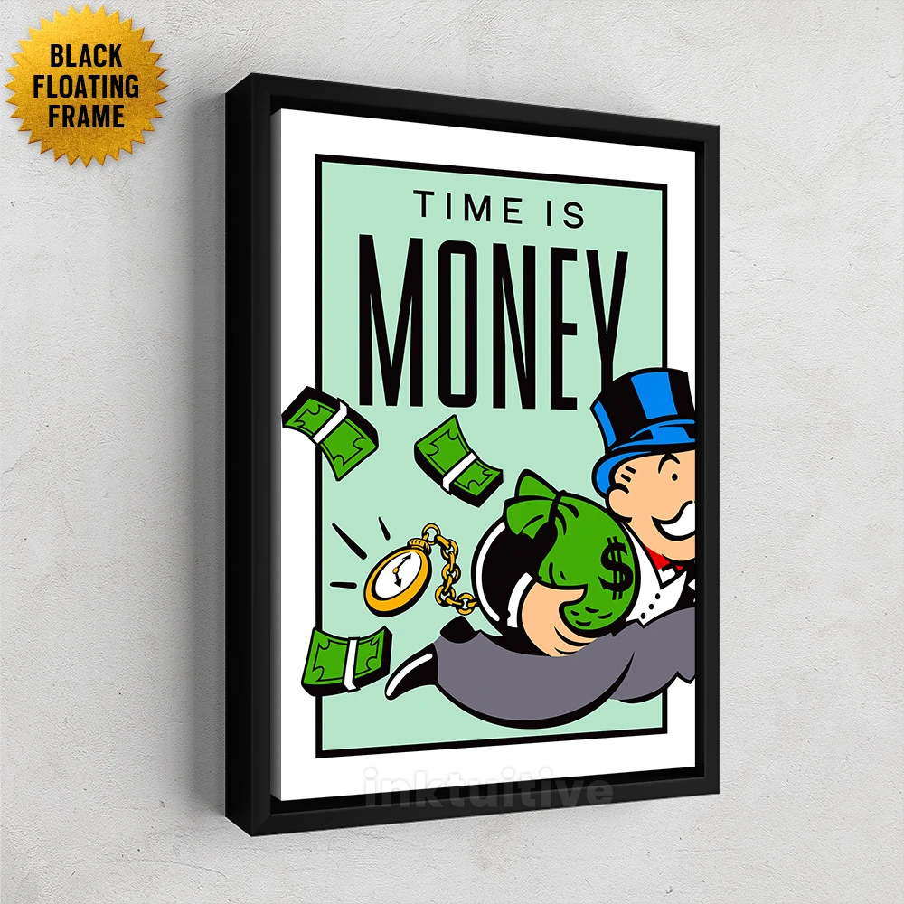 Time Is Money Monopoly Motivational Canvas Wall Art Print Inktuitive Framed Canvas Wall Art Time Is Money Canvas Wall Art