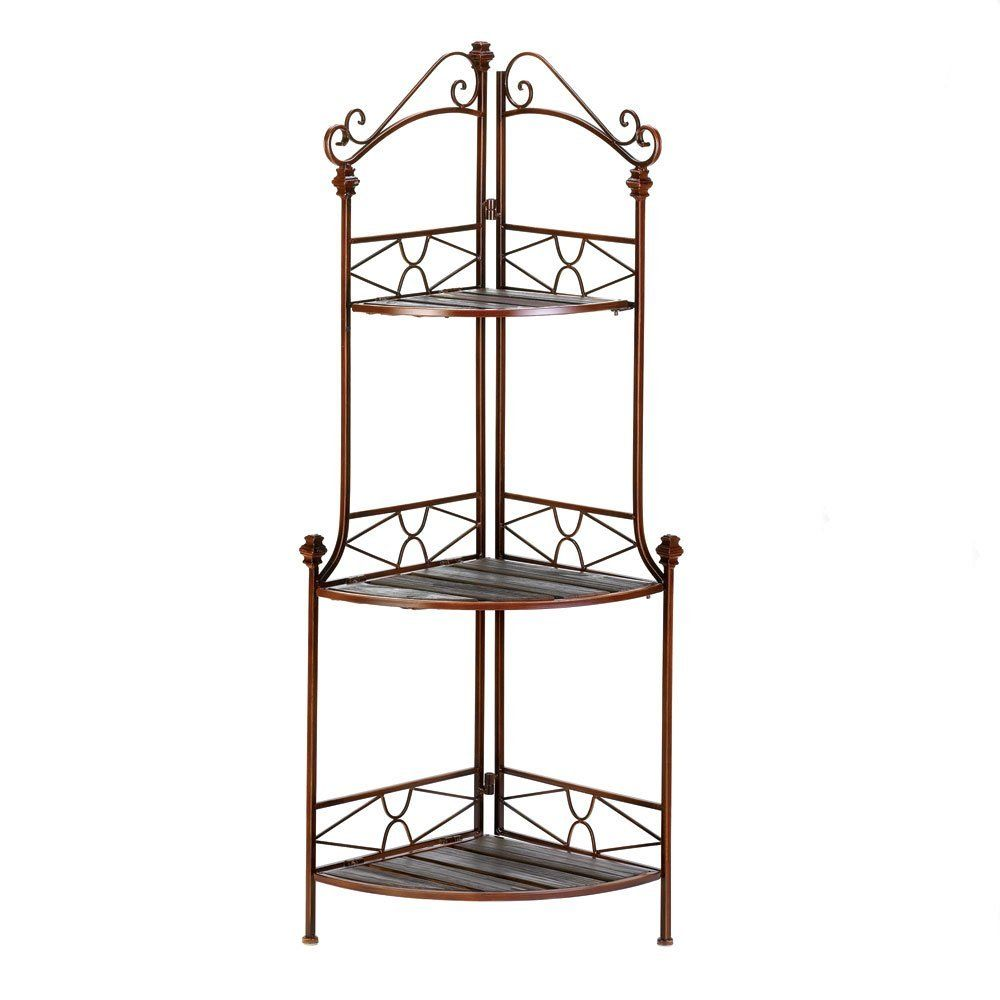 Sweet Little Filigree Corner Rack Great For Plants Decor Items Clocks And