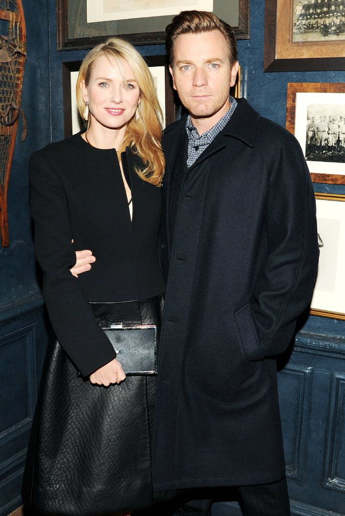 Naomi Watts (wearing Calvin Klein Collection) and Ewan McGregor at a private dinner in New York.