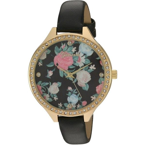 Geneva Women's Quartz Metal and Polyurethane Automatic Watch,... ($9.88) ❤ liked on Polyvore featuring jewelry, watches, floral watches, metal watches, geneva wrist watch, quartz jewelry and water resistant watches