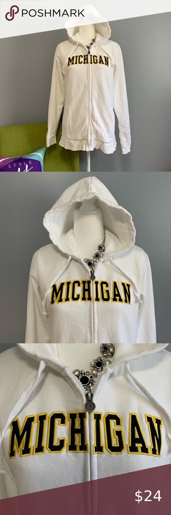 Champion Uofm White Zip Hooded Sweatshirt Sweatshirts Hooded Sweatshirts Michigan Sweatshirt [ 1740 x 580 Pixel ]